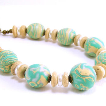 Beaded Necklace of Mint Pale Yellow and Pearl / Polymer Clay Jewelry