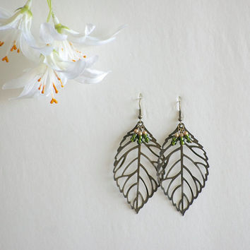 Leaf Earrings - Filigree Leaf - Nature Earrings - Nature Jewelry - Green Jewelry - Green Earrings - Antiqued Brass Leaf