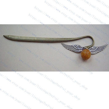 harry potter Enchanted Steampunk Golden snitch with Double Sided wings bookmark-wings antique siver