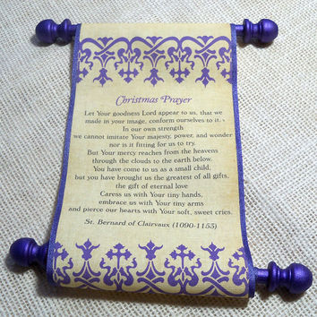 Christmas Prayer scroll on fabric, royal purple damask