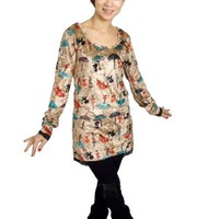 Woman Scoop Neck Cat Umbrella Print Velvet Pullover Shirt Brown XS