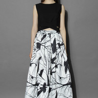 Branch Out Pleated Maxi Skirt  Multi