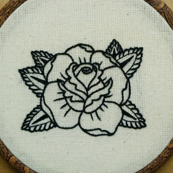 Rose Tattoo Hand Embroidery Pattern (PDF modern embroidery pattern)
