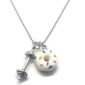 Donuts & Deadlifts Barbell Necklace