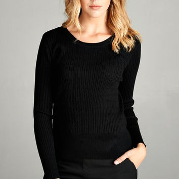 Classic Crew Knit Sweater - Black