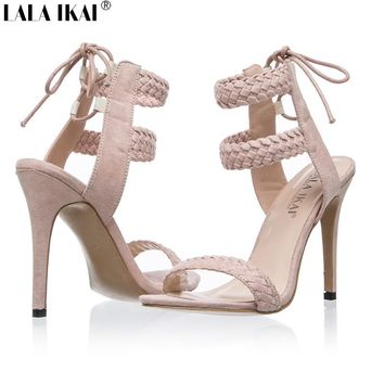 LALA IKAI Cross Strap Women Sandals 2017 Summer Gladiator Sandals Women Sandals Slingback 2 Colors Size 36-41 600B0174-5