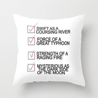 make a man out of you.. Mulan.. Swift as a coursing river...throw pillow with insert