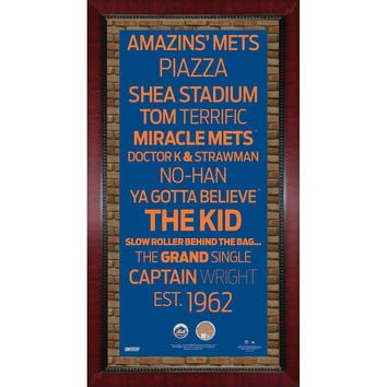 New York Mets Subway Sign 16x32 Frame w auth Dirt from Citi Field.