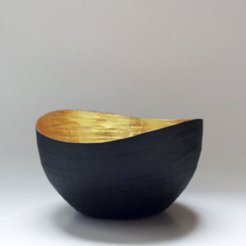 Paper Mache Vessel Black and Gold The Wavy Made to by etco