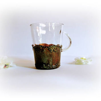 Personalized Glass Coffee Mug Antique Coffee Mug Coffee Bar Coffee Cup Glass Cup Tea Glass Mug Gift for Her Large Coffee Mug with Handle