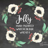Watercolour Jolly Christmas Wreath Clipart - Hand Painted Leaves INSTANT Download PNG & JPEG Xmas Flower Red Holiday Berry Digital Garland