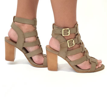 Buckle Up Heels In Taupe