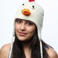 Knitwits Delux Chicken Pilot Hat - White