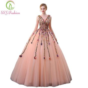 New Luxury Evening Dress The Bride Banquet Beautiful Lace Flower V-neck Long Party Ball Gown