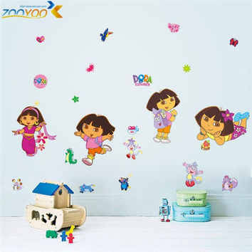dora decals cartoon Wall stickers for kids room zooyoo1435 decorative sticker home decorations diy removable pvc comic wall art SM6