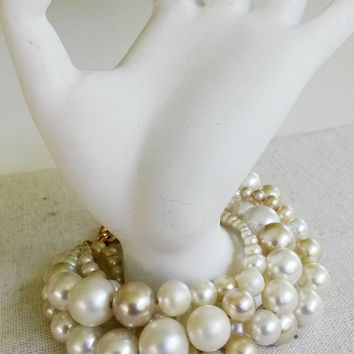 RePurposed Pearl Torsade Bracelet Gold Tone Clasp Chunky Vintage Bead Mixture Bridesmaids Bridal