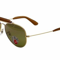 Ray Ban RB3422-Q 3422Q 001/M9 Gold/Brown Leather RayBan Aviator Sunglasses 58mm