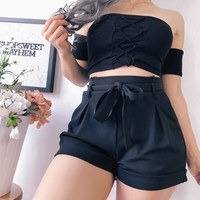 DALIA PAPERBAG SHORTS (BLACK)