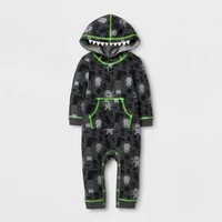 Baby Boys' Monster Halloween Hooded Long Sleeve Romper - Cat & Jack™ Charcoal