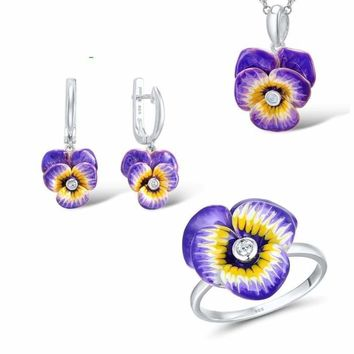 Purple and Yellow Flower CZ Stone Ring Earrings Pendent Necklace 925 Sterling Silver Women Jewelry Set