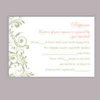 DIY Wedding RSVP Template Editable Word File Instant Download Rsvp Template Printable RSVP Cards Green Rsvp Card Elegant Rsvp Card