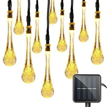 Christmas Decorative Solar Powered Lights, 30 LED 19.7ft 8 Modes Water drop Fairy String light for Outdoor Indoor Home Patio Lawn Garden Party Wedding Holiday Valentines Gift (Warm White)