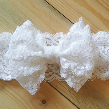 Itty Bitty Lace Bow Headwrap - Itty Bitty Messy Bow - White Bow