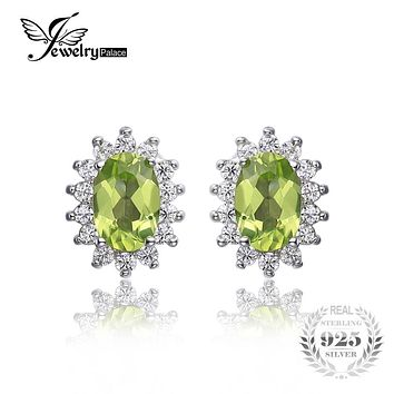JewelryPalace Princess Diana William Kate 1.2ct Natural Peridot Stud Earrings Soild 925 Sterling Silver Fine Jewelry On Sale