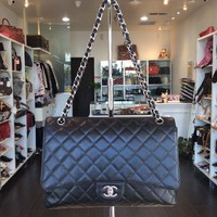 Chanel Black COCO Caviar Maxi Flap Purse Handbag Shop Pick Up@ LA Local Store