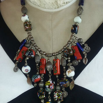 Vintage Venetian Bead Bib Necklace, Boho, Hippie