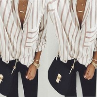 Women's White with Rust Stripe V-Neck Front Pocket Long Sleeve Blouse