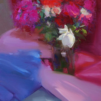 Pink Roses Painting White Roses - Floral Bouquet Still Life Painting Oil Floral Canvas Art by Yuri Pysar