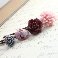 Flower Bobby Pins, Floral Hair Accessories, Maroon Rose, Grey Rose, Pink Dahlia, Silhouette Cameo, Hair Clips, Set of Four (4)