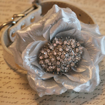 Silver Floral Dog Collar, Victorian Pet wedding, Unique, Chic, Dog Lovers