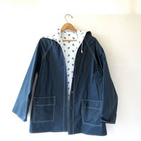 80s SAILBOAT raincoat /  hooded rain jacket / reversible