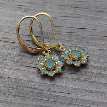 Pacific Opal Swarovski Flower Earrings, Lever Back, 14k Gold Fill, Ocean Blue Opal Glass Earrings, Bridesmaid
