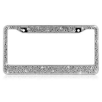 ShowTop Pure Handmade Luxury Crystal Bling Bling Rhinestones Aluminium Car License Plate Frame Cover for Women Mixed Drill 1 Piece