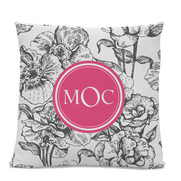 Monogram Pillow - Floral Pillow - Initial Pillow - Monogrammed Pillow - Custom Throw Pillow Flower Monogram Pillow
