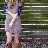 Shedding Shades Dress: Navy/Tan | Hope's