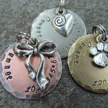 Pet Tag - Pet ID Tag with Bow/Ribbon, Heart or Paw Print Charm in Nickel/Silver, Copper or Brass