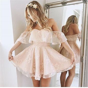 Sexy Blush Pink Cocktail Dress Off the Shoulder Sweetheart Lace Organza Mini Skirt Short Prom Dress 2017 Formal Party Gown IDO18
