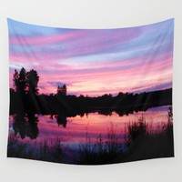 Pink Sunset Wall Tapestry by 2sweet4words Designs