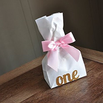 1st Birthday Girl Decorations. Mini Party Favor Bags with Age and Bows 10CT