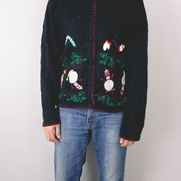 Vintage Snowman Knit Cardigan Ugly Christmas Sweater