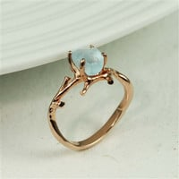 Rose Gold Rough Blue Topaz Ring
