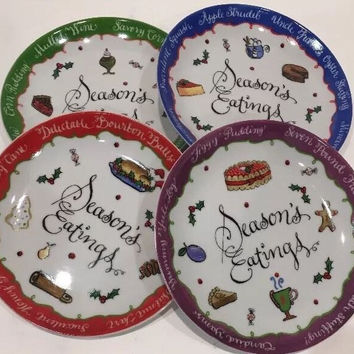 Boston Warehouse Whimsy Collection by Jill Sealey Season Eatings 4 X-mas Plates