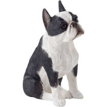 "Sandicast ""Small Size"" Sitting Boston Terrier Dog Sculpture"