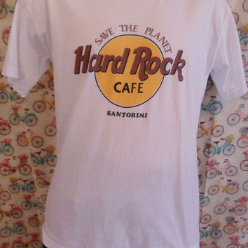 Vintage 80s Hard Rock Cafe Santorini | White Cotton Tee | Size Large T-Shirt | Tourist T Shirt | Made in Greece | Save The Planet | Advertis