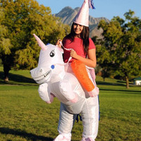 HOT Adult Halloween Costumes Inflatable Unicorn Costumes Ride on Sky Horse Air Blowing Up Clothes Funny Costumes