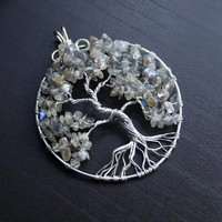 Labradorite Tree of Life silver-plated wire-wrapped pendant